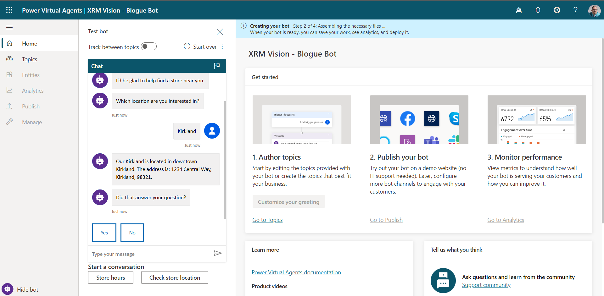 Add a chatbot using Power Virtual Agent by Microsoft